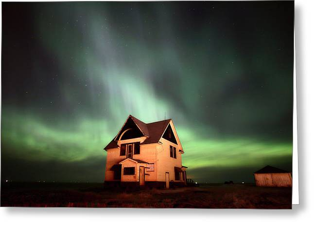 Exterior Wall Greeting Cards - Northern Lights over Southern Saskatchewan Greeting Card by Mark Duffy