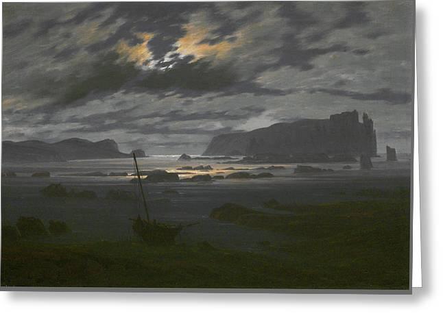 Northern Sea In The Moonlight Greeting Card by Caspar David Friedrich