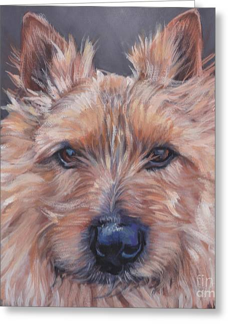 Greeting Card featuring the painting Norwich Terrier by Lee Ann Shepard