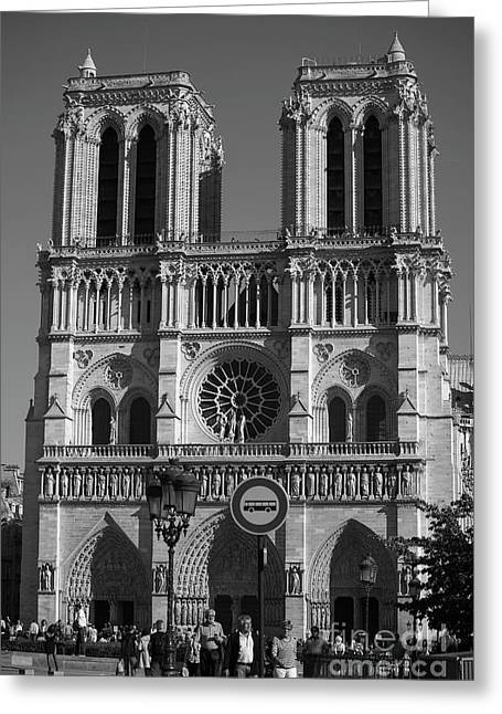 Notre Dame Cathedral In Black And White Greeting Card by Patricia Hofmeester