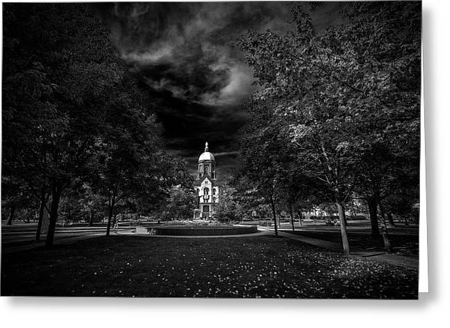 Notre Dame University Black White Greeting Card