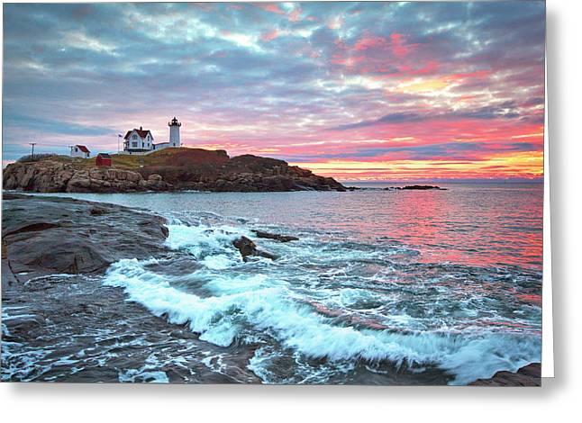Nubble Lighthouse Colorful Sunrise Greeting Card