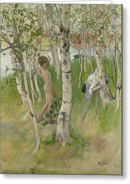 Nude Boy Among Birches Greeting Card