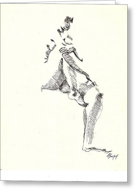 Greeting Card featuring the drawing Nude Four by R  Allen Swezey