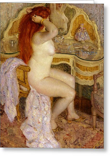 Nude Seated At Her Dressing Table Greeting Card by Frederick Carl Frieseke