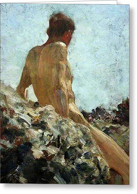 Greeting Card featuring the painting Nude Study by Henry Scott Tuke