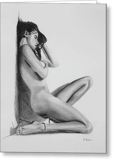 Nude Woman In High Heels Drawing Greeting Card
