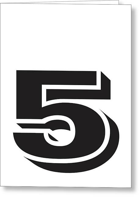 Number Five Minimalist Print Greeting Card