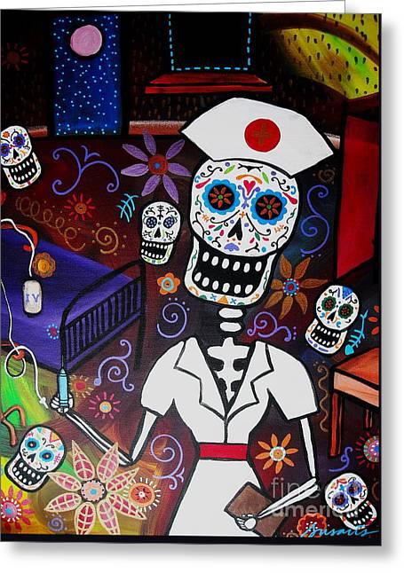 Nurse Dia De Los Muertos  Greeting Card