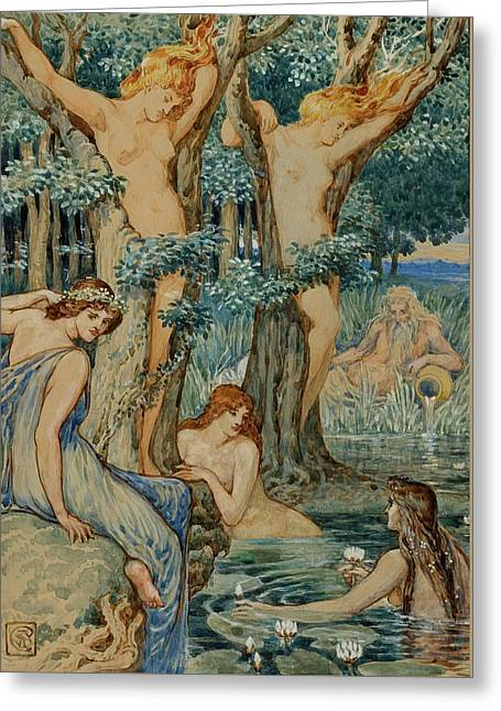 Nyads And Dryads Greeting Card by Walter Crane