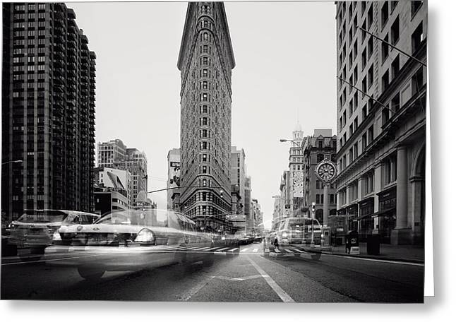 Nyc Flat Iron Greeting Card by Nina Papiorek
