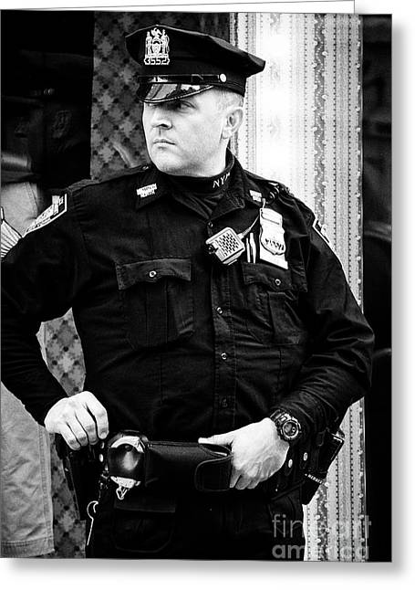 nypd protective security detail outside trump tower manhattan New York City USA Greeting Card