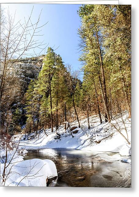 Oak Creek In Winter Greeting Card by Alexey Stiop