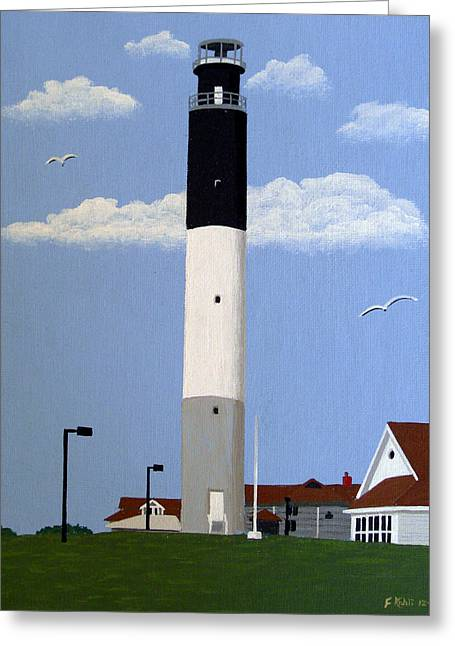 Landscape Art Greeting Cards - Oak Island Lighthouse Greeting Card by Frederic Kohli