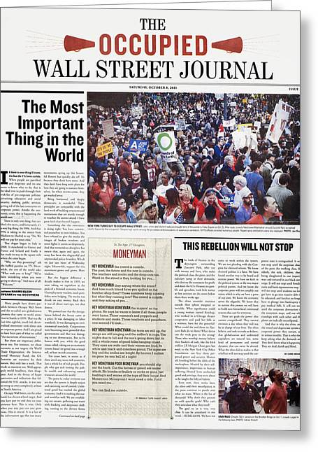 Occupy Wall Street, 2011 Greeting Card by Granger
