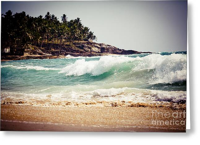 Greeting Card featuring the photograph Ocean Wave With Rocky Cliffs And Palm Trees by Raimond Klavins