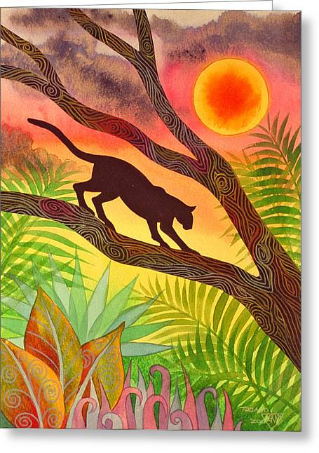 Ocelot At Sunset Greeting Card by Jennifer Baird