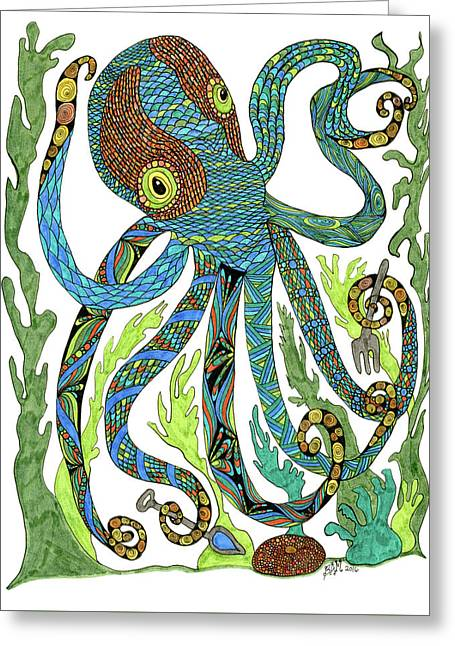 Greeting Card featuring the drawing Octopus' Garden by Barbara McConoughey