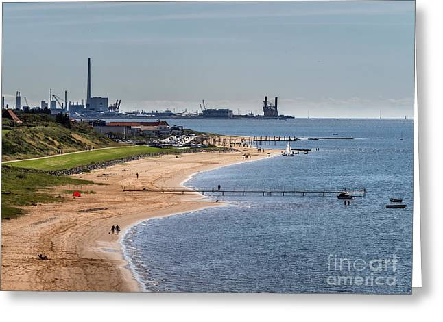 Offshore Harbor In Esbjerg Seen Form Hjerting Greeting Card