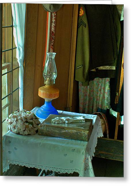 Oil Lamp And Bible Greeting Card by Douglas Barnett