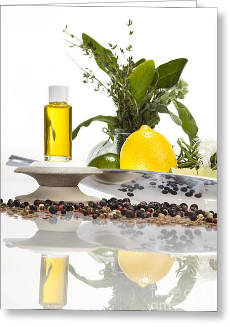 Oil Mixture Of Essential Oils For Aromatherapeutic Use Greeting Card by Wolfgang Steiner