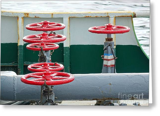 Greeting Card featuring the photograph Oil Pipeline Control Valves by Yali Shi