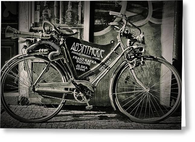 Old Bike Greeting Card by Hans Wolfgang Muller Leg