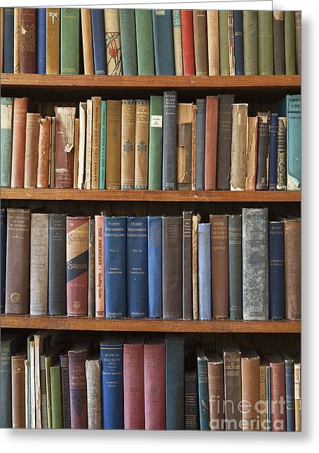 Old Books On A Bookshelf Greeting Card by Paul Edmondson
