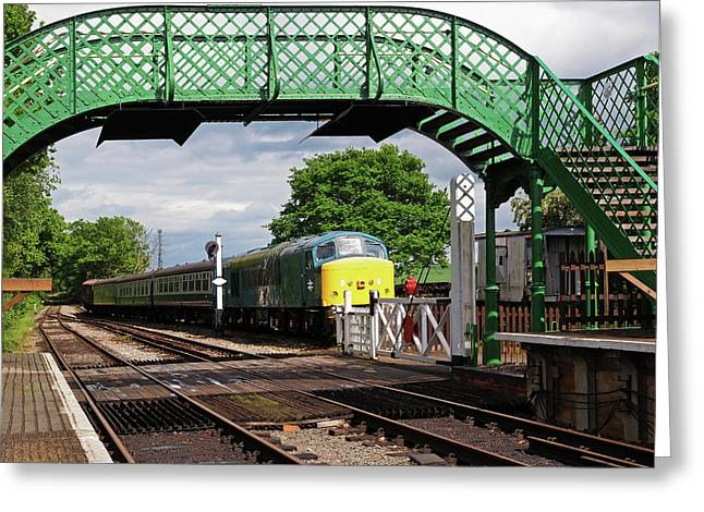 Old Diesel Train In The Sidings Greeting Card by Gill Billington