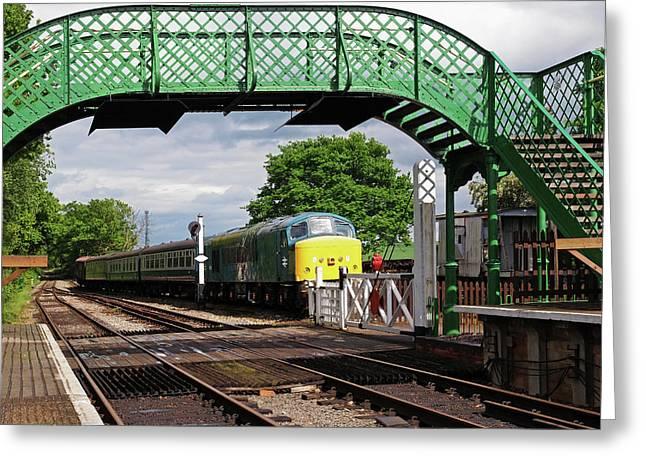 Old Diesel Train In The Sidings Greeting Card