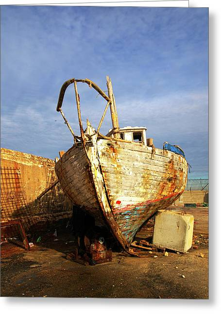Old Dilapidated Wooden Boat  Greeting Card by Ofer Zilberstein