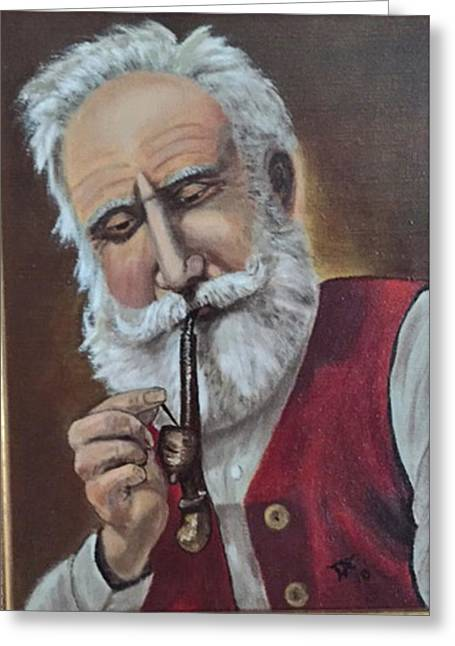 Old German With Pipe Greeting Card