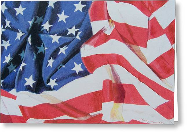 Greeting Card featuring the mixed media Old Glory by Constance Drescher