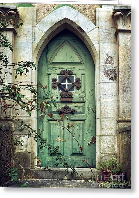 Old Gothic Door Greeting Card by Carlos Caetano