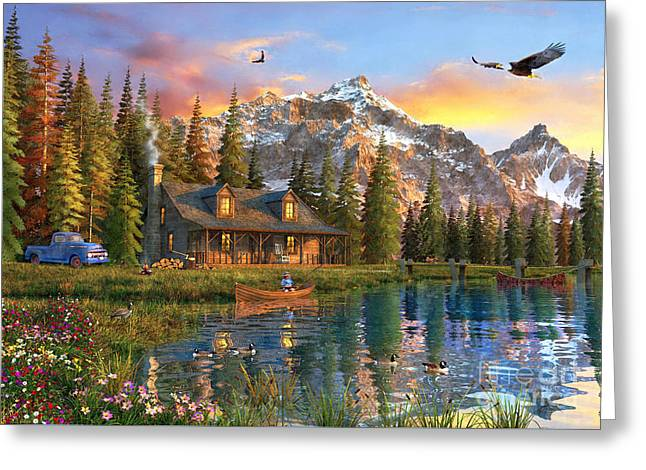 Old Log Cabin Greeting Card by Dominic Davison