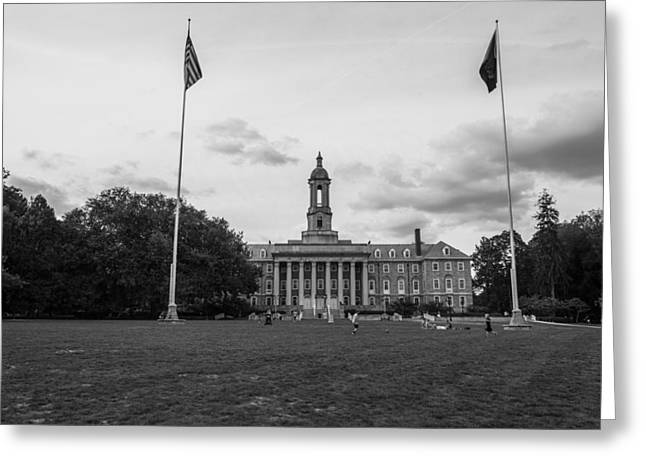 Old Main Penn State Black And White  Greeting Card