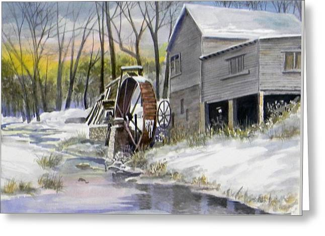 Old Mill In Winter  Sold Greeting Card