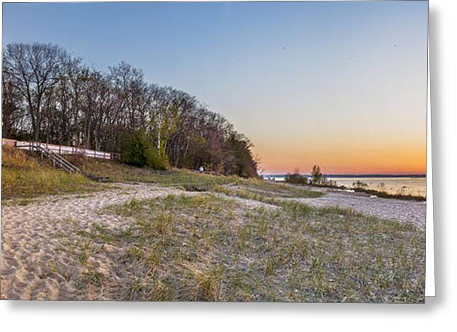 Old Mission Peninsula Lighthouse And Shore Greeting Card by Twenty Two North Photography