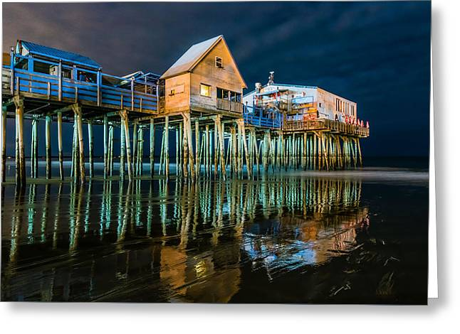 Old Orchard Dock Night Reflection Greeting Card