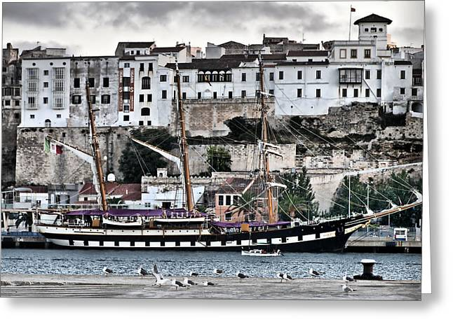 Old Port Mahon And Italian Sail Training Vessel Palinuro Hdr Greeting Card by Pedro Cardona