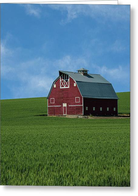 Old Red Barn In The Palouse Greeting Card by James Hammond