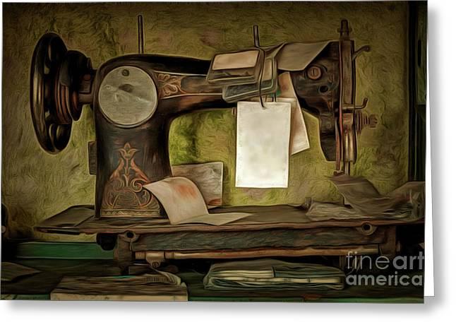 Old Sewing Machine Greeting Card
