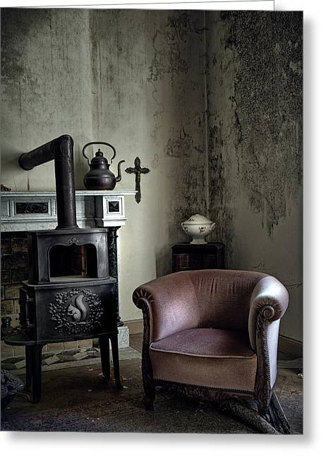 Old Sofa Waiting - Abandoned House Greeting Card by Dirk Ercken