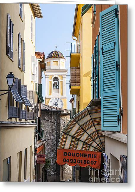 Old Town In Villefranche-sur-mer Greeting Card