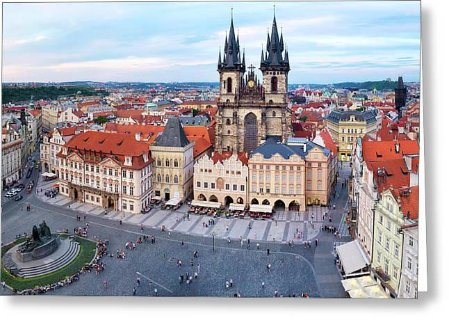 Greeting Card featuring the photograph Old Town Square by Fabrizio Troiani
