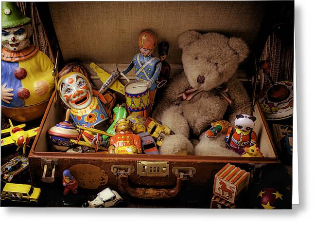 Old Toys In Suitcase Greeting Card by Garry Gay