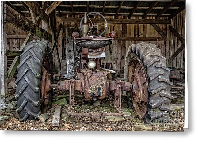 Old Tractor In The Barn Greeting Card