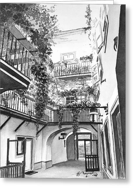 Old Viennese Courtyard Greeting Card