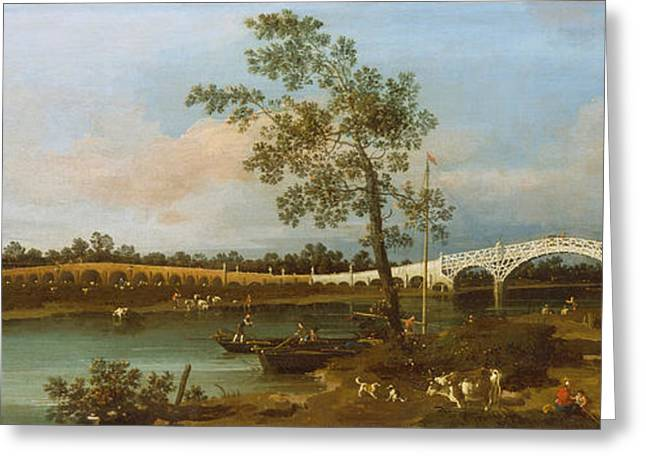 Old Walton Bridge Greeting Card by Canaletto