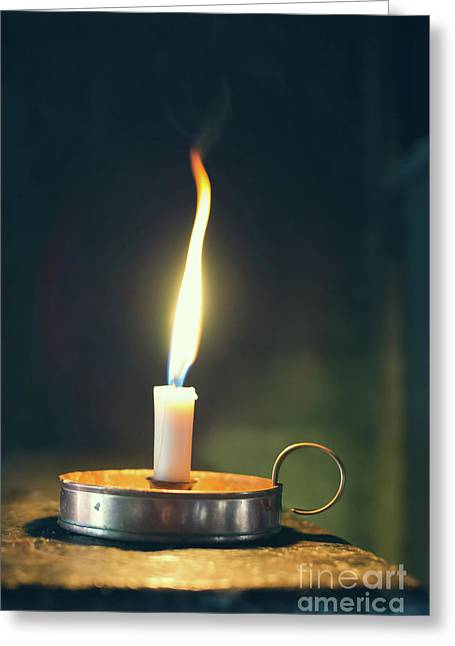 Old Wax Burning Candle Greeting Card